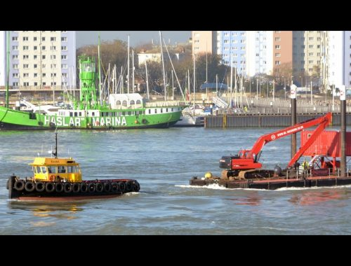 Boxer dredger under tow