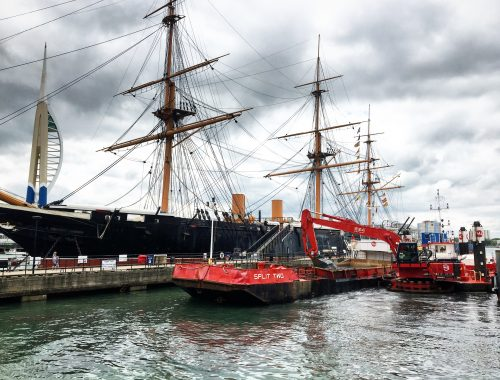 Witton dredging along side the HMS WARRIOR
